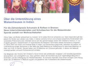 """Spende für """"unsere"""" indischen Kinder anstatt Weihnachtskarten"""